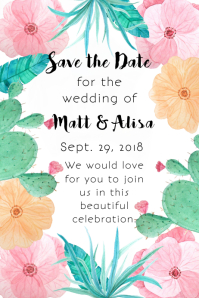Cactus Floral Save the Date