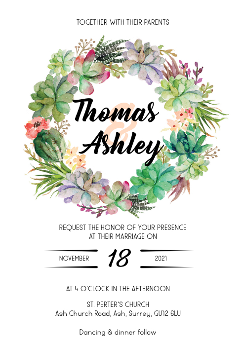 Cactus floral wedding invitation