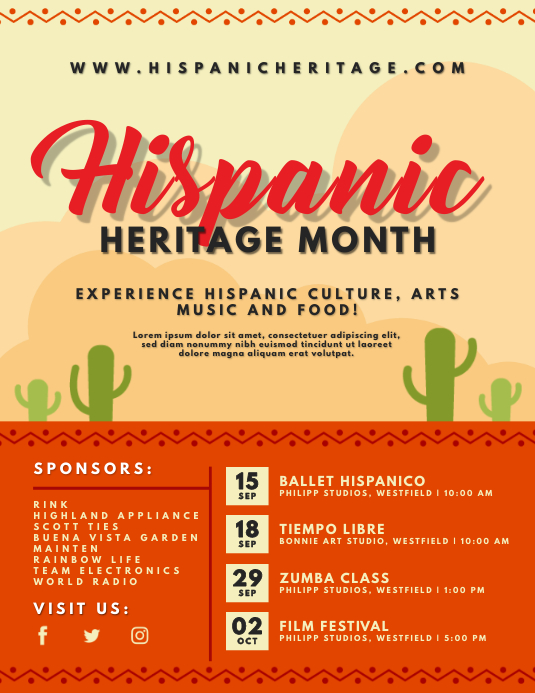 Cactus Hispanic Heritage Month Flyer