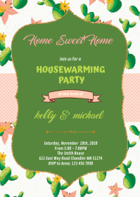Cactus Home sweet home party theme invitation