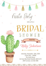 Cactus taco love bridal shower theme A6 template