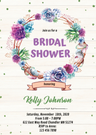 Cactus wreath baby bridal shower invitation A6 template