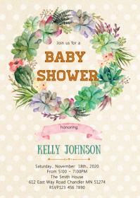 Cactus wreath baby shower invitation