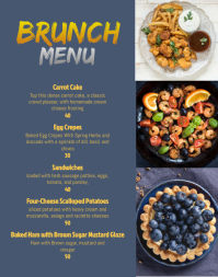 Cafe brunch menu