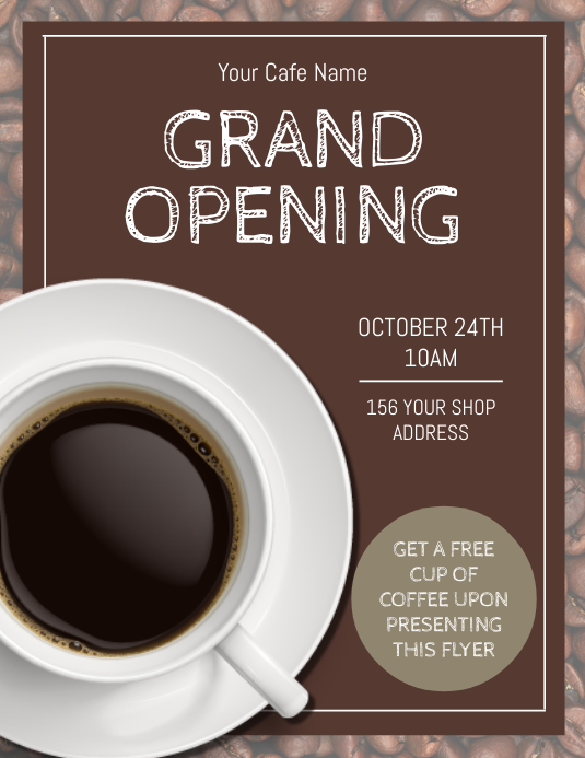 Cafe / Cafeteria Grand Opening Flyer Template
