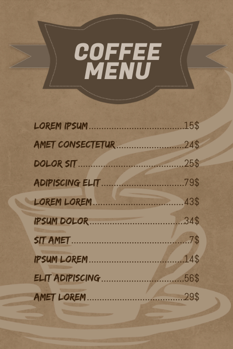 Cafe Coffee Menu Design Template