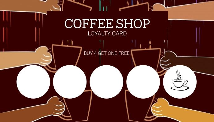 Cafe Coffee shop Loyalty Card Template Besigheidskaart