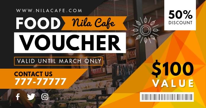 Cafe Discount Food Voucher Template Facebook 共享图片