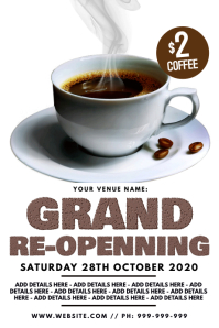 Cafe Grand Re-Opening Poster template
