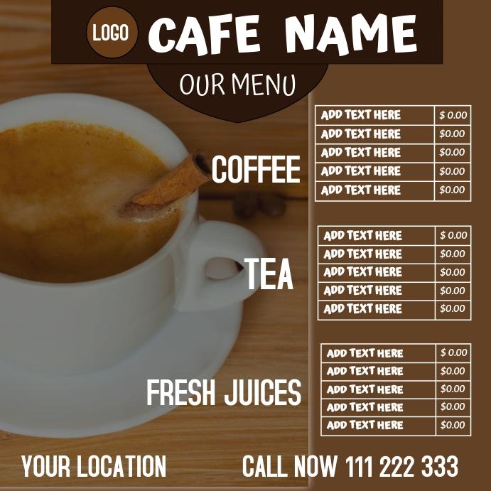 CAFE MENU FLYER Instagram na Post template