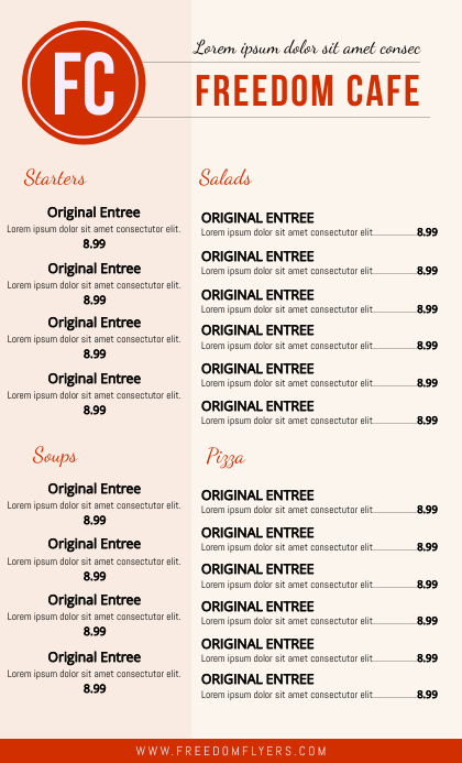 Cafe Menu Tempate US Legal template