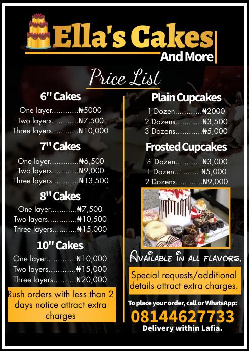 Cake & cupcakes menu price list flyer A6 template