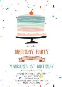 Cake birthday party invitation