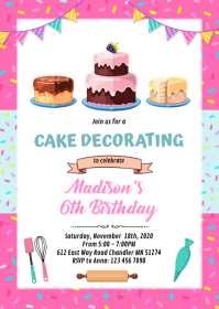 Cake decorate baking birthday invitation