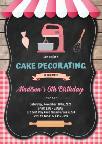 Cake decorate baking birthday invitation A6 template