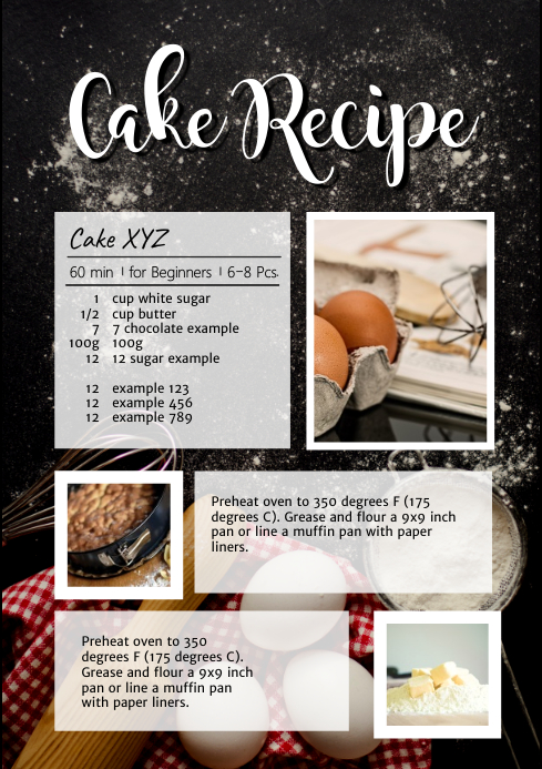 Cake Recipe Chalk Table Cooking Bake Magazin A4 template