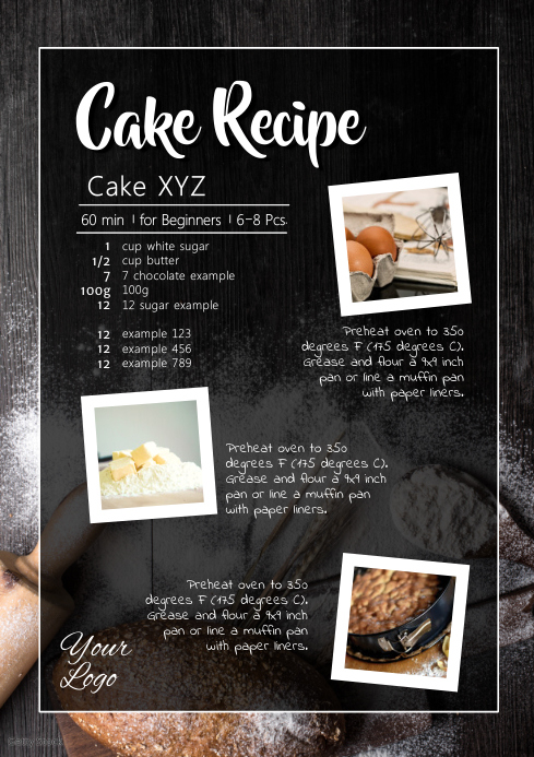 Cake Recipe Cooking Baking Bakery Sweets Blog A4 template