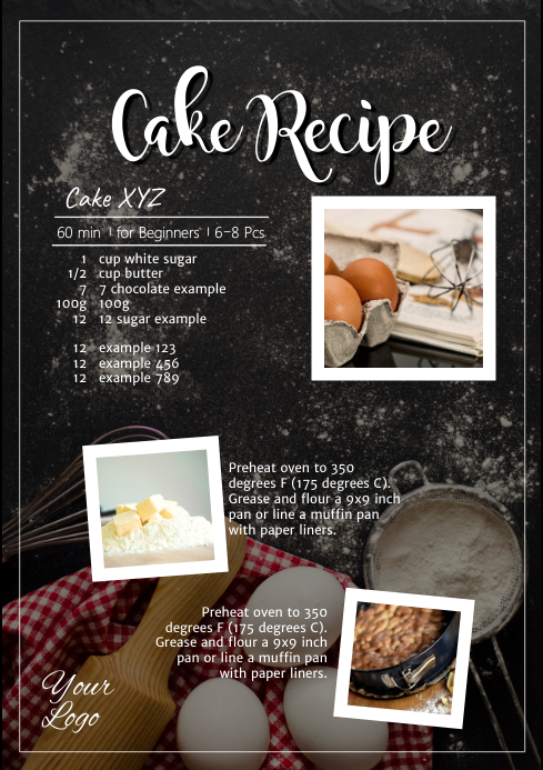 Cake Recipe Cooking Baking Food Sweets Blog A4 template