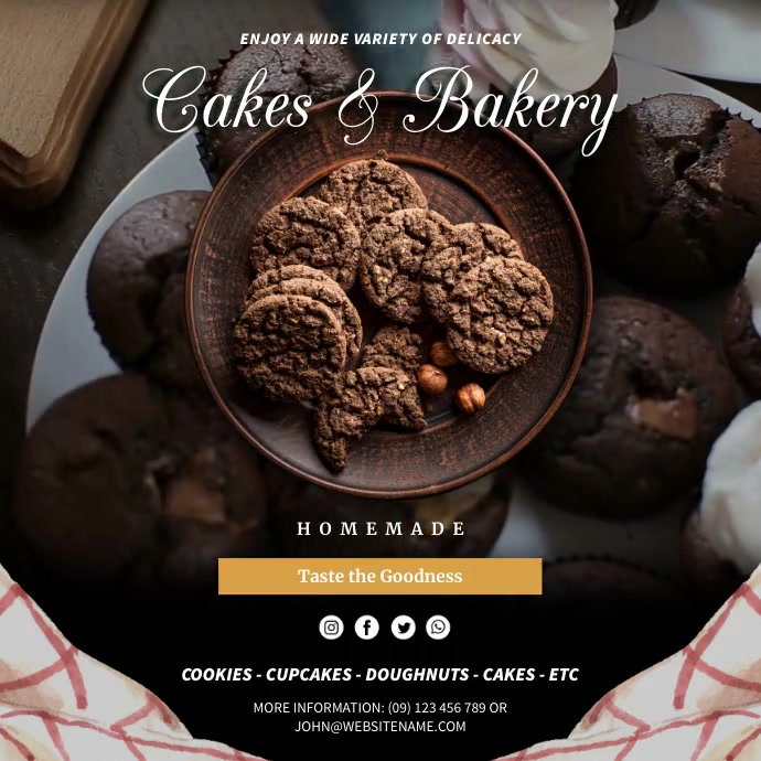 Cakes & Bakery Square Video Instagram-opslag template