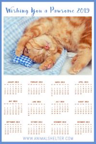 Calendar 2019 Kitten Poster Template