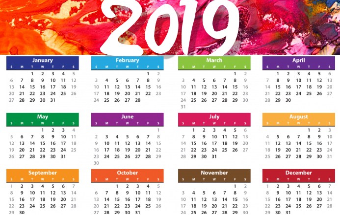 Template Calendrier 2019.Calendrier 2019 Affiche Modele Postermywall