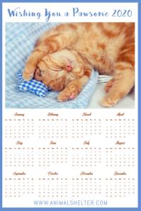 Calendar 2020 Kitten Poster Template