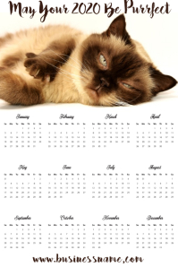 Calendar 2020 Kitten Template