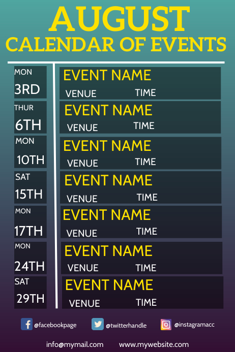 Calendar of Events Poster template