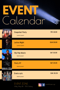 Calendar Upcoming Events Dates List Club Ad Poster template