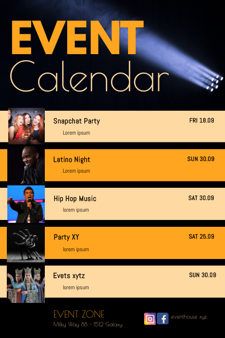 Calendar Upcoming Events Dates List Club Ad Plakat template