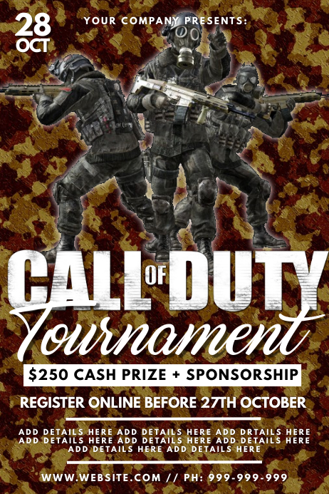 Call Of Duty Tournament Poster Template Postermywall