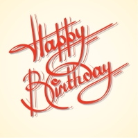 Calligraphy happy birthday ornate lettering Post Instagram template