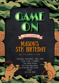 Came laser tag birthday party invitation