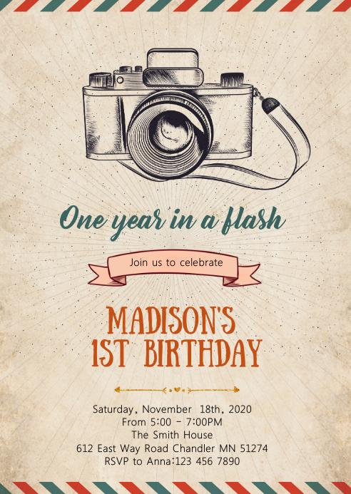 Camera birthday party invitation A6 template