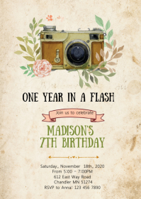 Camera birthday party invitation