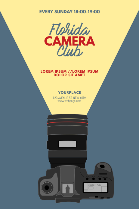 Camera Club Flyer Design Template Póster