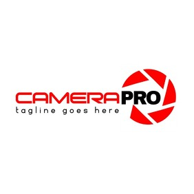 camera icon logo red and black colors Логотип template