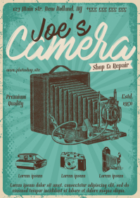 CAMERA SHOP VINTAGE POSTER A4 template