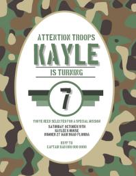 Camo Army Birthday Party Invitation Template
