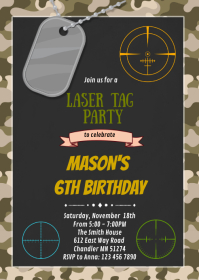 Camo laser tag birthday party invitation