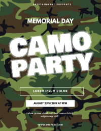 Camo military soldier memorial day party Flyer (US Letter) template