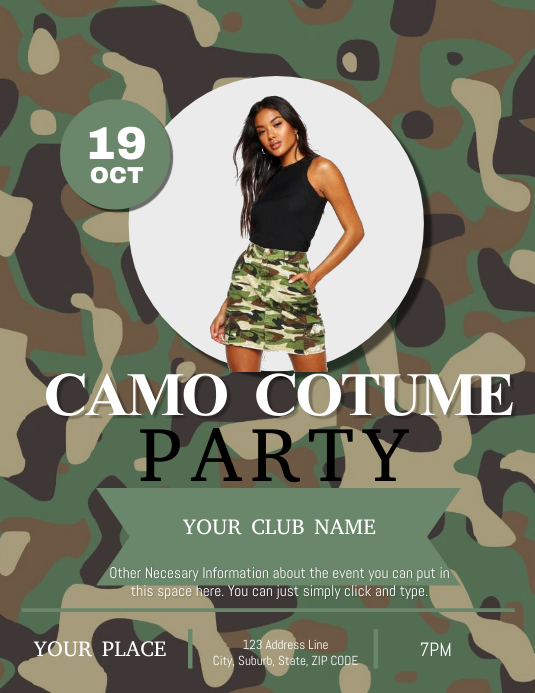 Camo Party Club Flyer Template