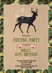 Camouflage Deer hunting party invitation A6 template