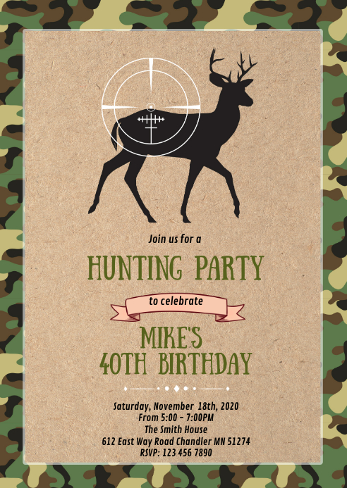 Camouflage Deer hunting party invitation