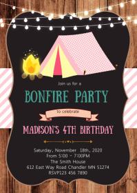 Camp birthday party invitation