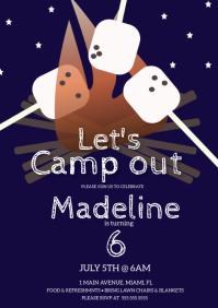 Camp BonFire Birthday Party Invitation A5 template