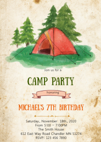 Camp Bonfire birthday party invitation