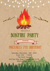 Camp Bonfire birthday party invitation A6 template