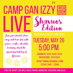 Camp Gan Izzy Live - Shavuos Post Instagram template