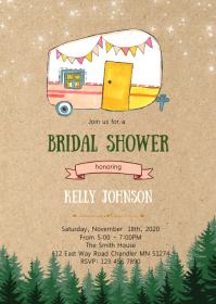 Camp glamping party invitation A6 template